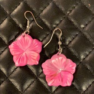 Anthropologie Genuine Flower MOP Shell Earrings